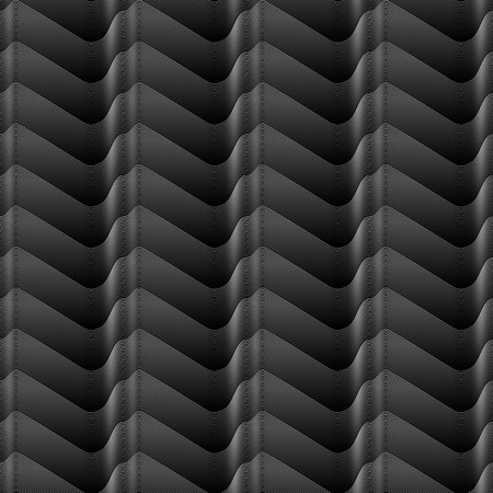 white shaded Seamless gradient lines wave seamless geometrical pattern on black background