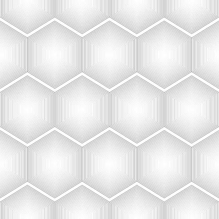 Geometrical Seamless hexagon lines on white background Illustration