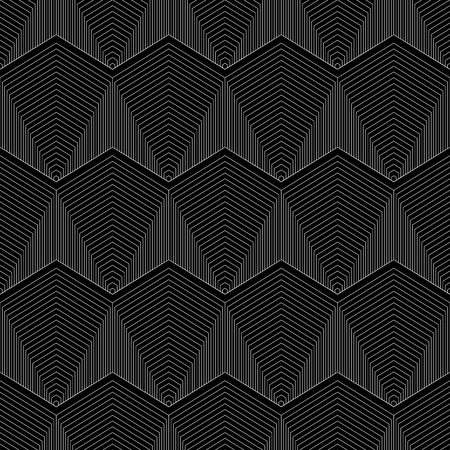Geometrical white lined hexagon Seamless pattern on black background