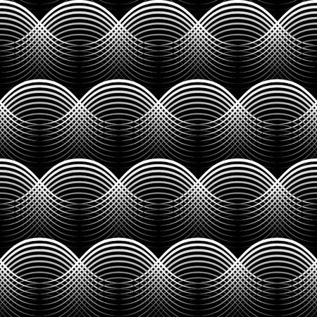Geometrical Seamless Pattern white waves on black
