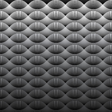 Geometrical Seamless Pattern oval waves grey shades background