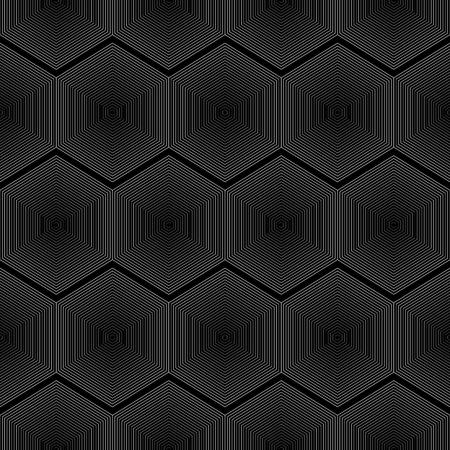 Geometrical Seamless hexagon lines on black background Illustration
