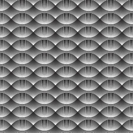 Geometrical Seamless Pattern oval waves white background Illustration