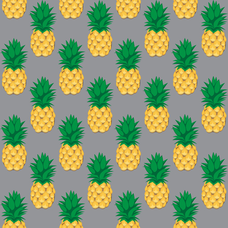 pineapple fruit contour abstract seamless pattern on grey background for wallpaper, pattern, web, blog, surface, textures, graphic & printing Illustration