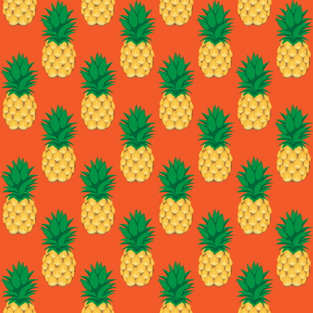 pineapple fruit contour abstract seamless pattern on orange background for wallpaper, pattern, web, blog, surface, textures, graphic & printing