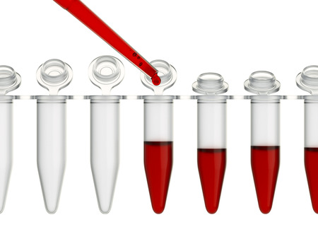 eppendorf: Dropping blood sample in test-tube close-up