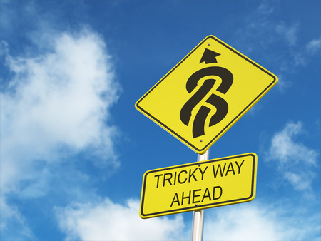 tricky: Tricky way ahead road sign