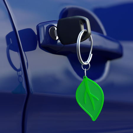 Car key with green leaf keychain photo