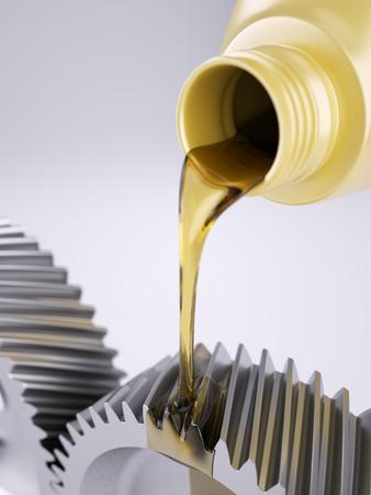 machine teeth: Oiling gears on grey background