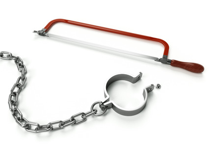 unchained: Breaking chains Stock Photo
