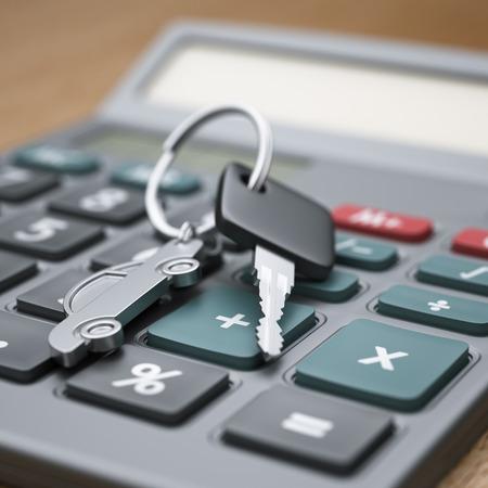 Calculator and car keys close-up