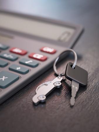 Car loan calculation concept with car keys photo