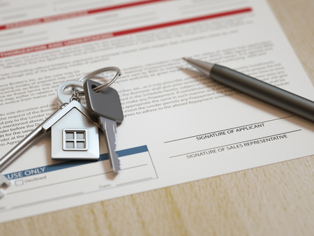 house prices: Mortgage application concept with house keys and calculator