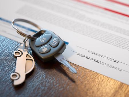 Car loan application with car keys
