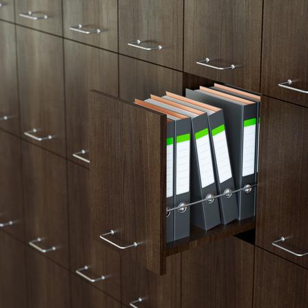 file cabinet: Gabinete de archivos con entreabierta caj�n Foto de archivo