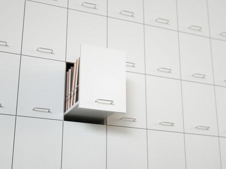 Aktenschrank mit halb geöffneten Schublade Standard-Bild - 32112940