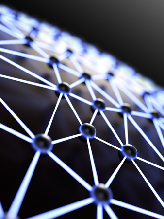 Abstract illuminated network close-up with shallow depth of field