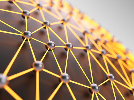 geosphere: Abstract illuminated network close-up with shallow depth of field