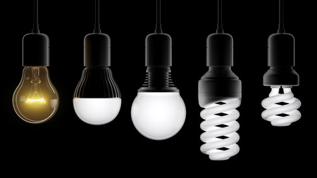 Growing different types of light bulbs isolated on black background