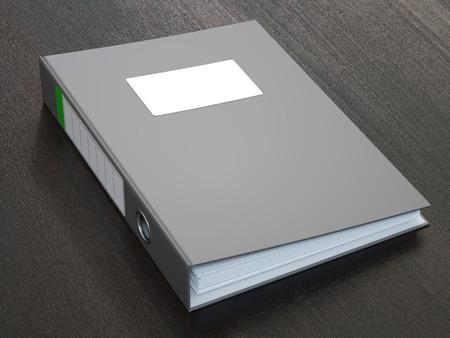 空白のラベルと暗い灰色リング バインダー