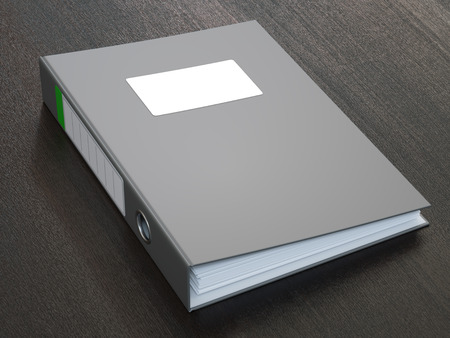 Dark Grey Ring Binder With Blank Label Stock Photo - 33565093