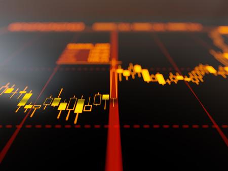 stock market graph: Candlestick chart Stock Photo