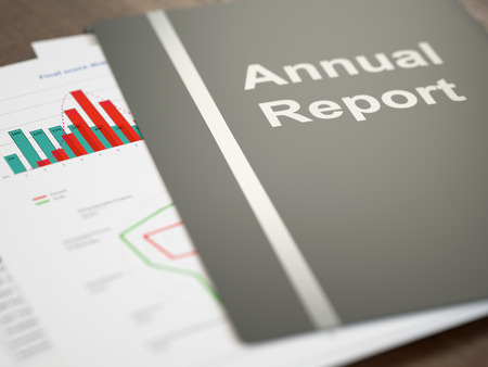 Black annual report folder with graphs and charts close-up Stockfoto