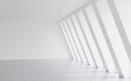 sloping: Abstract empty white hall with sloping wall background Stock Photo