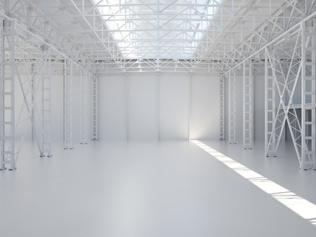 Abstract empty warehouse interior background