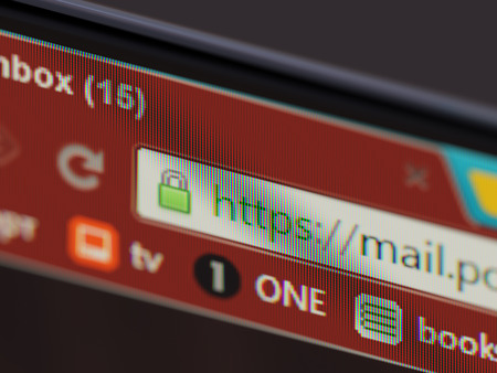 https: HTTPS secure connection sign in browser address bar on computer display close up Stock Photo