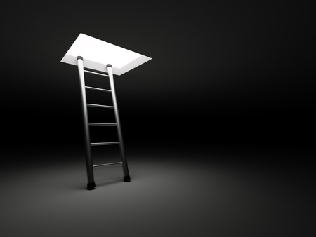 way out: The way out concept with ladder