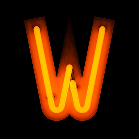 letter w: Neon Letter W from neon alphabet collection isolated on black