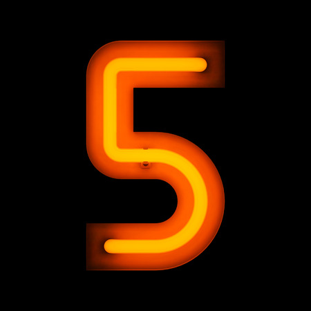 Neon digit five from neon alphabet collection isolated on black