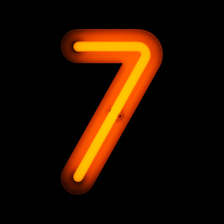 Neon digit seven from neon alphabet collection isolated on black