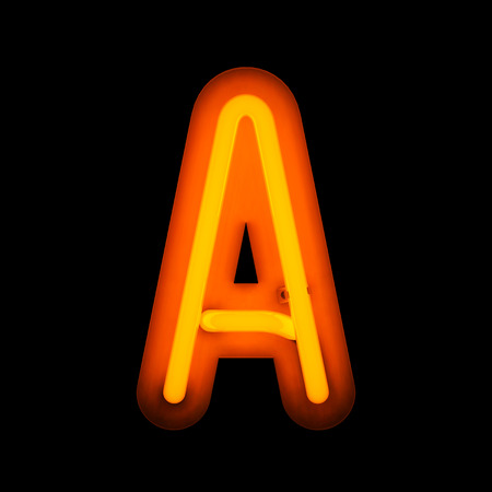 neon color: Neon Letter A from neon alphabet collection isolated on black Stock Photo