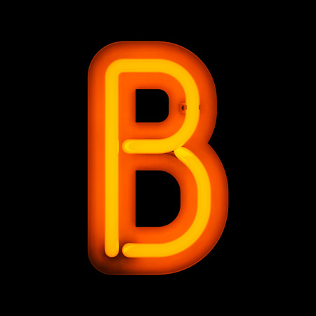 letter b: Neon Letter B from neon alphabet collection isolated on black
