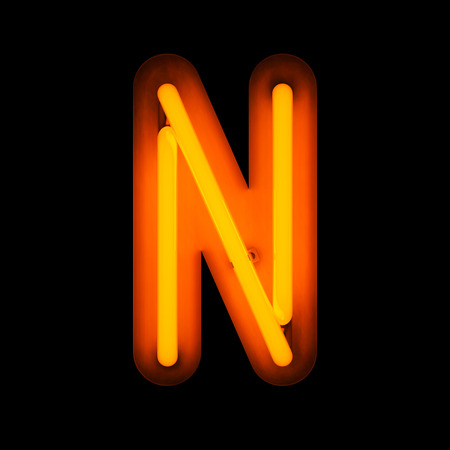 neon: Neon Letter N from neon alphabet collection isolated on black