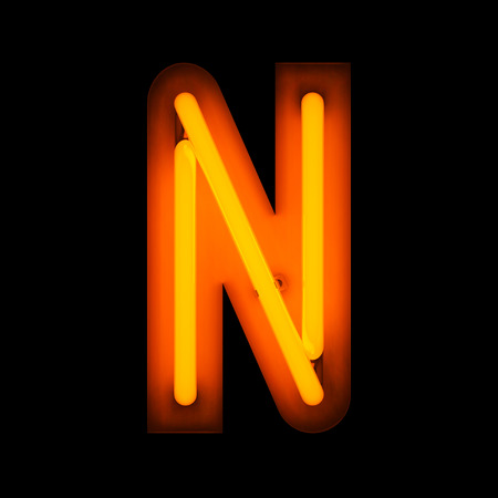 Neon Letter N from neon alphabet collection isolated on black