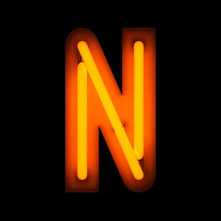 lettre alphabet: Neon Lettre N � partir de la collecte de l'alphabet n�on isol� sur noir Banque d'images