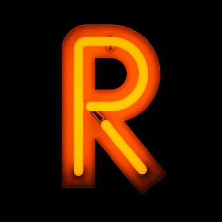 r: Neon Letter R from neon alphabet collection isolated on black