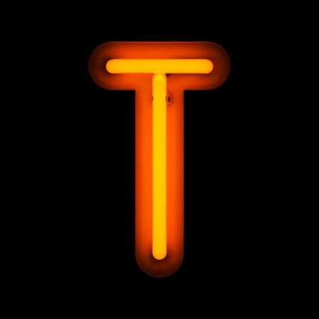 Neon Letter T from neon alphabet collection isolated on black Фото со стока