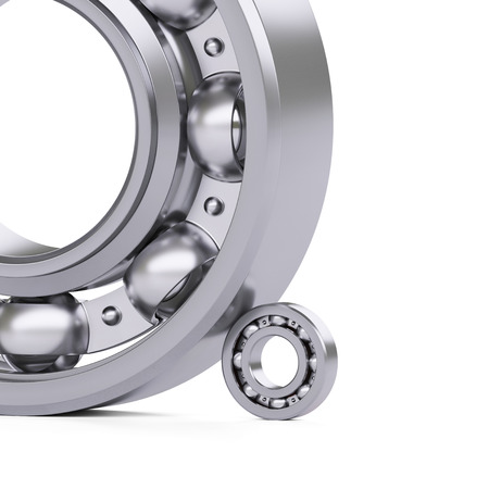 bearings: Ball bearings close-up isolated on white