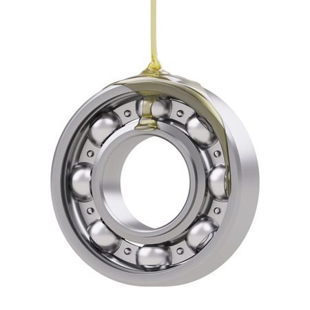 Oiling ball bearing close-up isolated on white