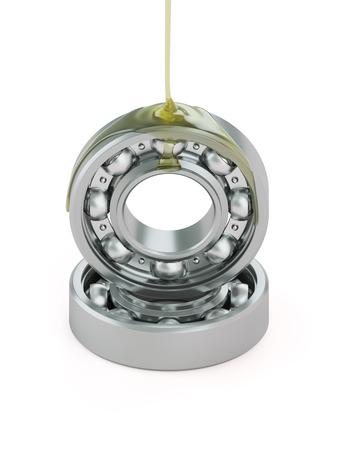 greasing: Engrasar cojinete de bolas de primer plano aislado en blanco Foto de archivo