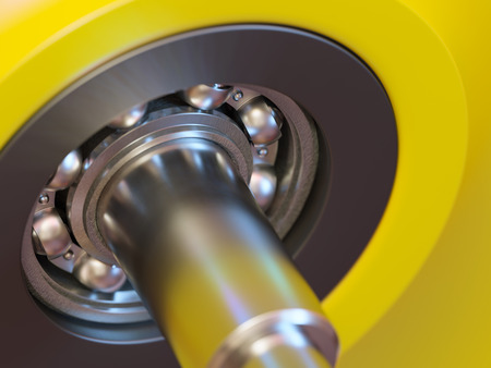 ball bearing: Ball bearing inside of wheel close-up