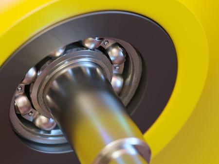 Ball bearing inside of wheel close-up