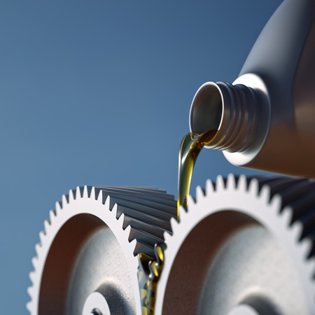 Oiling gears close up shot