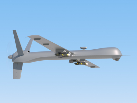 aerial bomb: Military unmanned aerial vehicle (UAV) with missiles in the sky Stock Photo