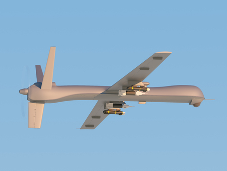 missiles: Military unmanned aerial vehicle (UAV) with missiles in the sky Stock Photo