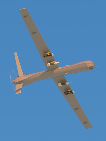 aerial bomb: Military unmanned aerial vehicle (UAV) with missiles Stock Photo